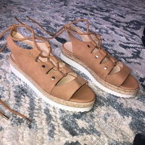 nude platform tie up sandals